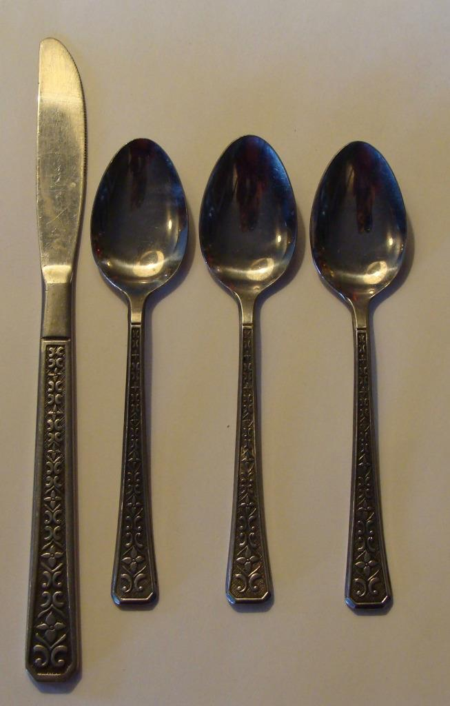 Vintage 4 pcs Interpur Florenz Japan Stainless Steel Flatware 4 petal Lot