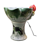 Oriental White Green Lotus Porcelain Fish Theme... - $1,680.00