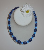"22"" Navy, Navy, Navy Handmade Beaded Necklace - $10.00"