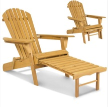 Outdoor Adirondack Wood Chair Foldable w/ Pull Out Ottoman Patio Deck Fu... - $88.98