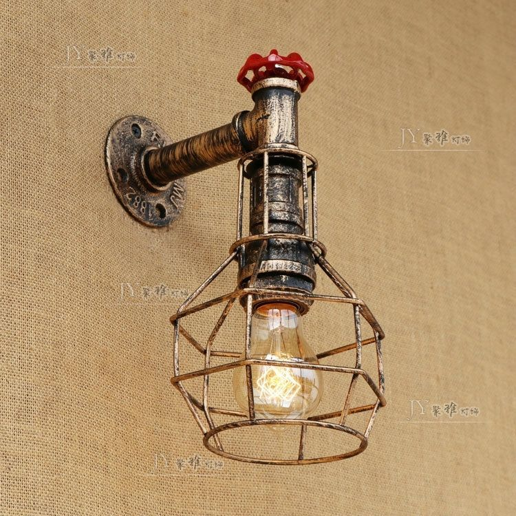 Steampunk Caged Sconce Antique Bronze E27 Light Wall Lamp Home Lighting Fixture