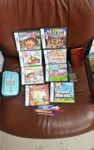 Nintendo DS Lite Crimson Handheld gaming console, case 8 games bundle ma... - $92.57