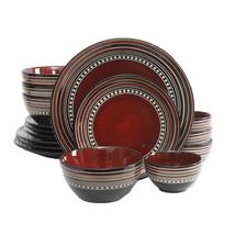 Gibson Elite Café Versailles 16 Piece Double Bowl Dinnerware Set - Red - $80.20