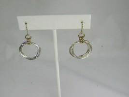 Vintage Silvertone Drop Dangle Pierced Earrings 51389 Silver Tone Hoop - $12.86