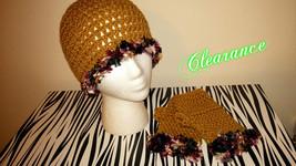 Crochet Gold Fun Fur Hat & Fingerless Gloves Set - $22.00