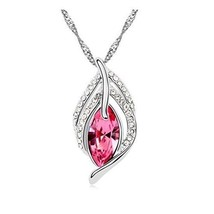 Falling Leaf Necklace with Pink Crystal Valentine's Gift - $62.53