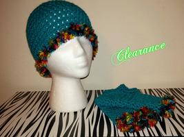 Crochet Aqua Fun Fur Hat & Fingerless Gloves Set - $22.00