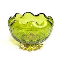 Green Pedestal Bowl by Indiana Glass, Duette Pattern Gold Tone Cast Meta... - $9.99