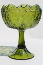 Vintage diamond VASE quilt pattern Indiana glass compote retro green ivy... - $13.14 CAD