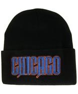 Chicago City Name Mens Black Winter Knit Cuffed Beanie Skull Cap Hat Blu... - $9.95