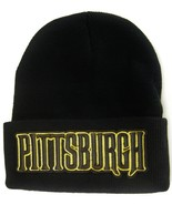 Pittsburgh City Name Men's Black Winter Knit Cuffed Beanie Skull Cap Hat - $9.95