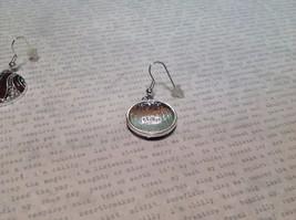 Silver Tone Round Crystal w Brown Enamel Dangle Earrings image 4