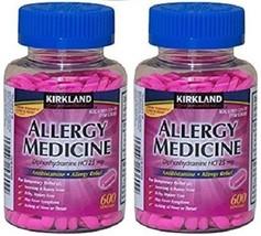 Kirkland ALLERGY Medicine Diphenhydramine 25mg 1200 Tabs Compare To BENA... - $17.57