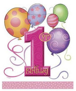 Girls 1st Birthday Loot Bags 8 Pack - Pink by Unique - $0.99