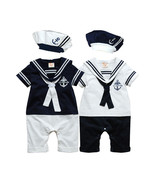 Baby Boy Sailor Outfits Nautical One-Piece Rompers - $15.99