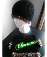 Crochet Black Fun Fur Hat & Fingerless Gloves Set - $18.00