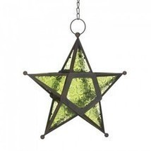 Green Glass Star Lantern (pack of 1 EA) - $7.30