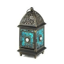 Jeweled Blue Glass Lantern (pack of 1 EA) - $6.25