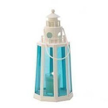 Blue And White Lighthouse Candle Lantern (pack of 1 EA) - $11.50