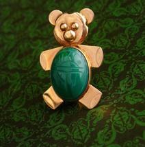 Vintage Bear Pin / Teddy bear brooch / scarab gold filled pin / Animal j... - $85.00
