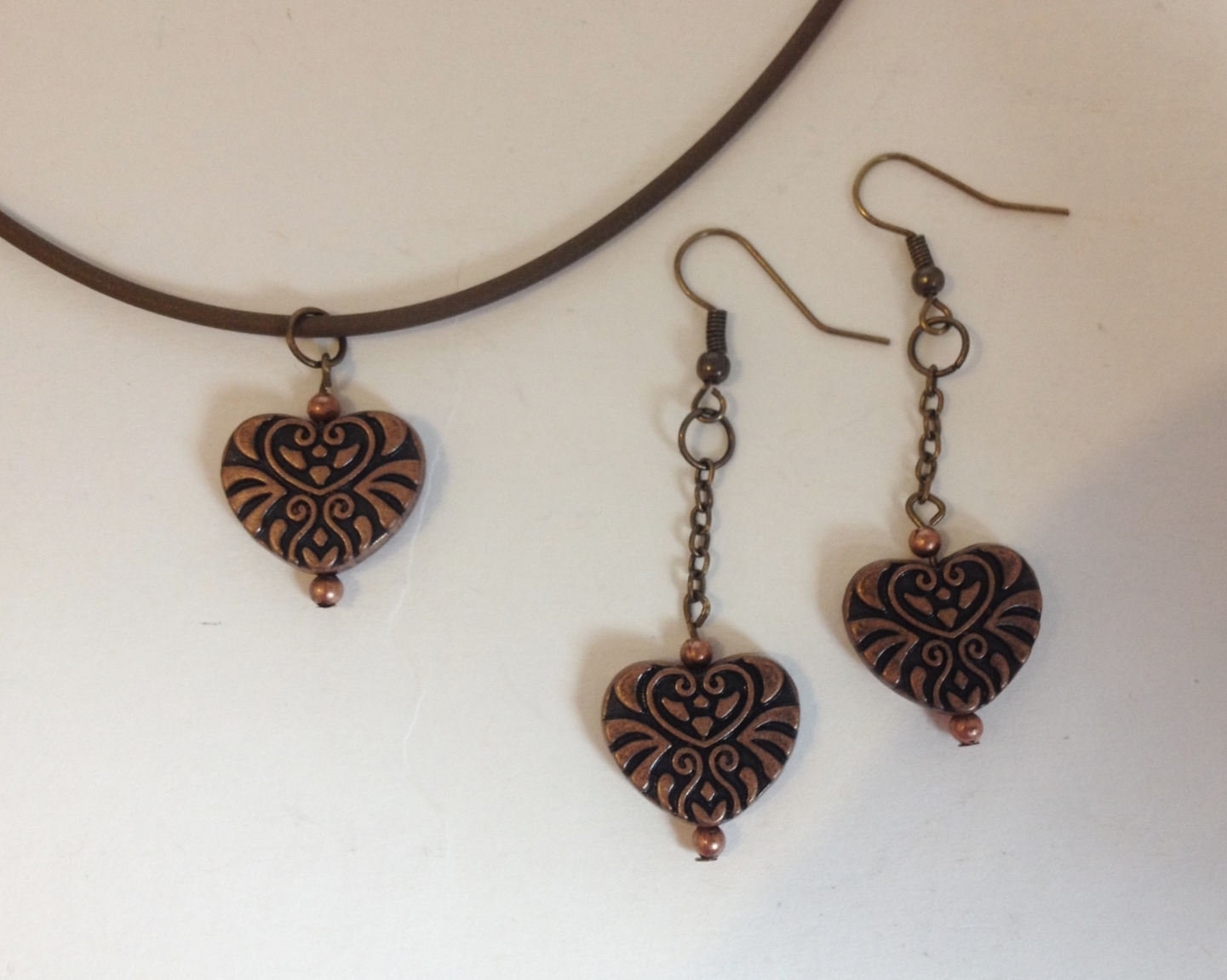 Set necklace earrings heart  1  48  7