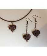 Antique Gold Copper Metal Heart Earrings Necklace Pendant Set Handmade Pierced - £38.37 GBP