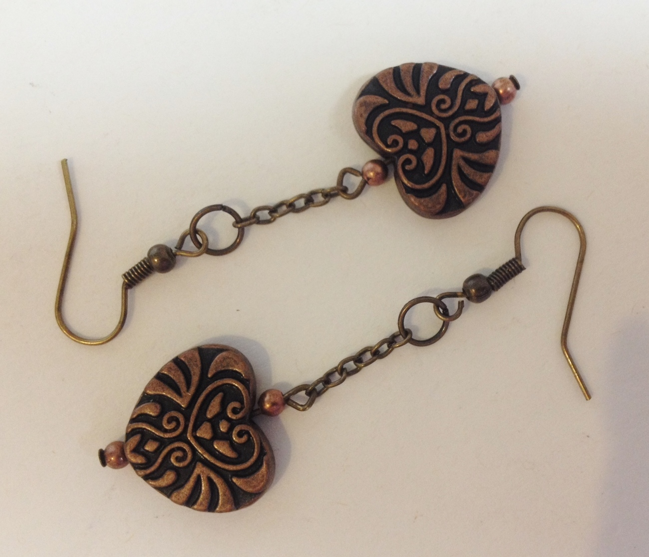 Antique Gold Copper Metal Heart Earrings Necklace Pendant Set Handmade Pierced