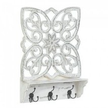Distressed White Floral Wall Shelf (pack of 1 EA) - $52.45