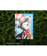 "That Cat with a Hat - ACEO sketch card drawing (2.5"" x 3.5"") - $13.00"