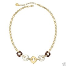 Liz Claiborne Tri-Tone Square-the-Circle Necklace Signed New With Tags - $14.99
