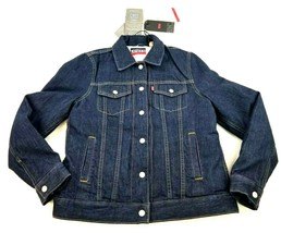 new Levi's women jean jacket coat reversible warm feather & down blue s ... - $89.52