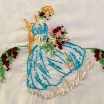 Vintage Embroidered Southern Belle Wisteria Flowers Pillowcase Turquoise... - $14.99