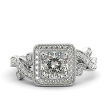 1.88 ct Forever One Moissanite Cushion & Round Diamond Engagement Ring 18 W Gold - $1,650.00