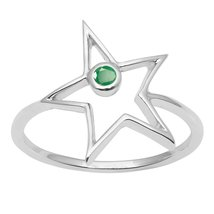 Shine Jewel Star Looking Emerald Gemstone 92.5 Stelring Silver Ring For ... - $11.46