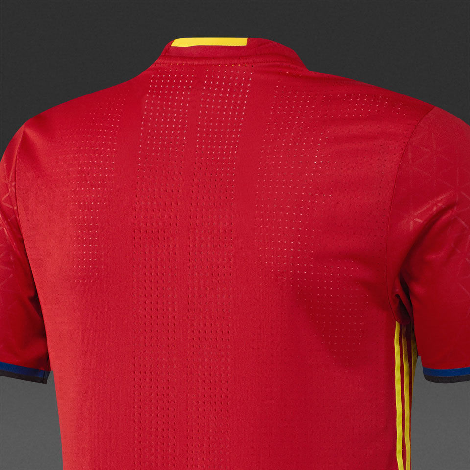 329ceda1bcd ADIDAS SPAIN EURO 2016 AUTHENTIC PLAYER HOME ADIZERO JERSEY Scarlet.