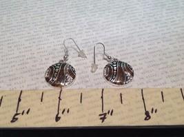Silver Tone Round Crystal w Brown Enamel Dangle Earrings image 5