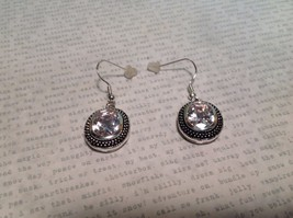NEW Silver Tone Dangle Earrings w Large Oval Crystals and Filigree image 3