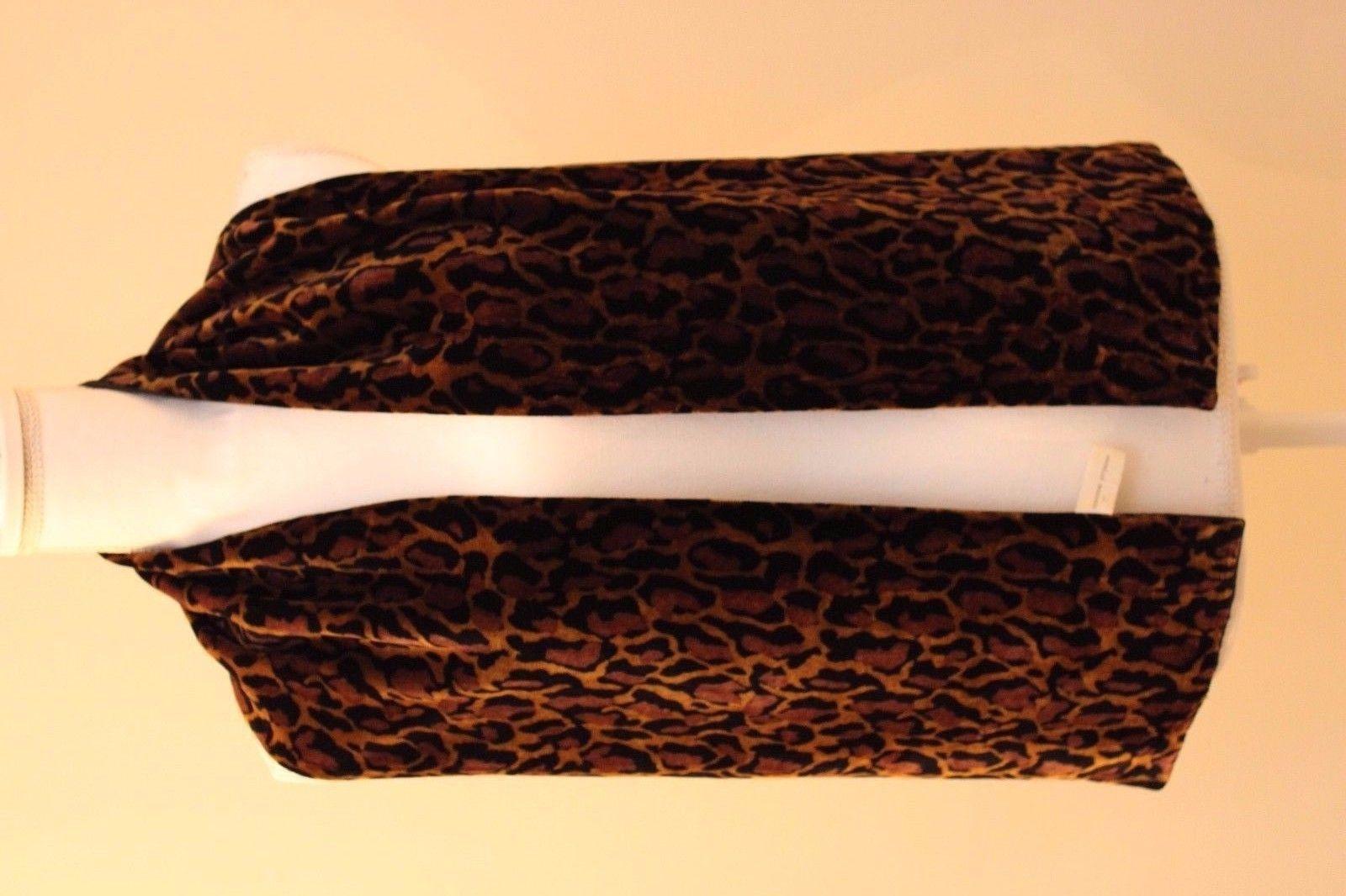 Adrienne Vittadini Leopard Print Brown Black Red Sheer Silk Scarf ~ 21 x 21