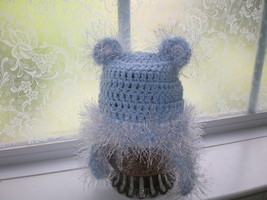 BABY BOY LIGHT BLUE TEDDY BEAR PHOTO PROP HAT WITH EYELASH TRIM - $11.00