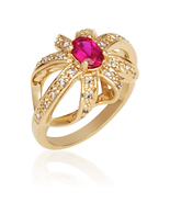 Gold Vermeil Cubic Zirconia & Created Ruby Fashion Ring - $65.00