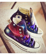 Galaxy Converse All Star Original Design Hand Painted Shoes Men Women's Sneakers - $125.00