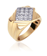 Men's Gold Vermeil Two-Tone Cubic Zirconia Designer Ring - $69.99