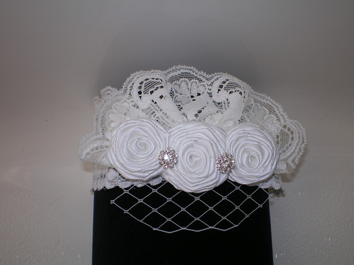 BABY GIRL WHITE LACE HEADBAND WITH WHITE ROLLED ROSES VEIL PHOTO PROP