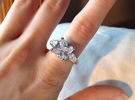 Square Cut CZ Chevron Design 18K White Gold Ring Size 9 and 10 image 6