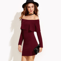 Womens Off Shoulder Long Sleeve Pencil Bodycon Party Evening Dress - $40.00