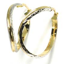 Ohrringe Creolen Gold Weiß und Gelb 750 18K, Gewellt und Mattiert, 3.2 CM - $353.86