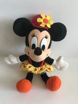 Mattel Arcotoys Minnie Mouse Yellow Red Polka Dot Flower Hat Plush Stuffed Doll image 3