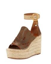 Chloe Tooled Leather Wedge Espadrille Sandal, Marron Glace $695 Size 41 - $382.50