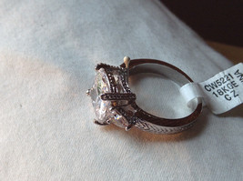 Square Cut CZ Chevron Design 18K White Gold Ring Size 9 and 10 image 3