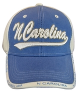 North Carolina Men's 2-Tone Curved Brim Adjustable Baseball Cap Blue/White - $11.95